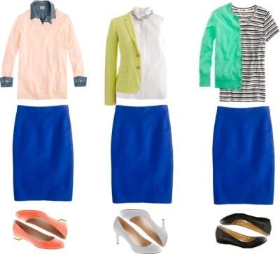 с чем сочетать синюю юбку